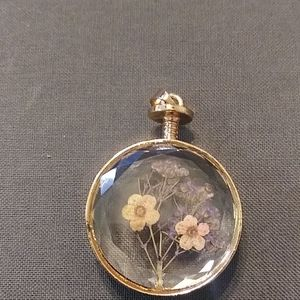 Pressed Flower Rose Gold Colored Pendant
